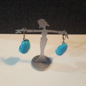 Semi-Precious Turquoise Nugget Earrings - (E1)